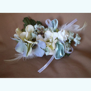 Spring wedding faerie Feather floral hair accessory barrette