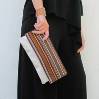 Bohemian folded clutch in brown and white. Crete-Clutch 02W Available in other colors too.  NEW