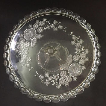 Glass Pedestal Cake Stand, Floral Cake Plate , Wedding Decor