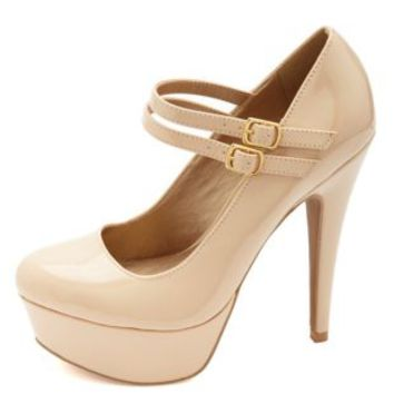 Double Mary Jane Platform Pumps by Charlotte Russe - Nude