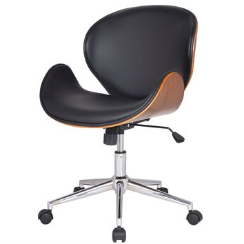 Modern Classic Walnut / Black Faux Leather Office Chair with Curved Seat