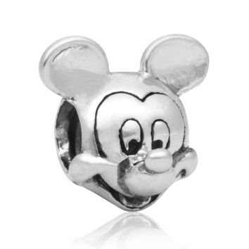 New Silver Plated Bead Charm European Vintage Cute Cartoon Mouse Beads Fit Women Pandora Bracelet Bangle DIY Jewelry HKC0125