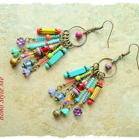 Boho Colorful Fun Earrings, Playful Bohemian Dangle Earrings, Boho Fashion Jewelry, Boho Style Me, Kaye Kraus