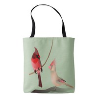 Red Cardinals Winter Birds on Green Backgroiund Tote Bag