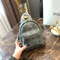 MCM Visetos Leather Mini Backpack