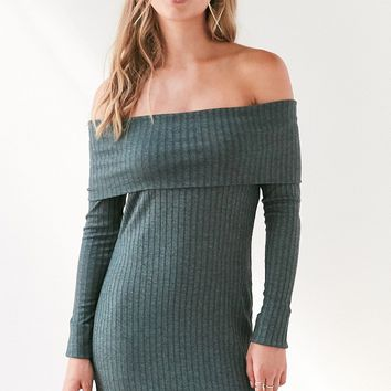Silence   Noise Lauralie Off-The-Shoulder Ribbed Mini Dress