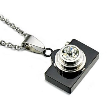 HIP Classic Titanium Stainless Steel Sentimental Snapshots Camera Pendants Necklaces for Men Jewelry