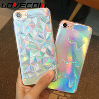 Luxury Bright Hologram Iridescent Triangle Pastel Melting Soft TPU Phone Back Cover Phone Case For iPhone 5 5S SE 6 6S 7 Plus