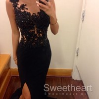 Black round neckline Lace Long Prom Dresses, Evening Dress from Sweetheart Girl