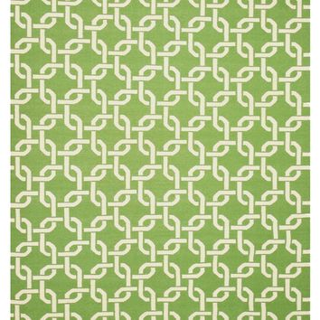 EORC Handwoven Wool Green Transitional Geometric Links Dhurrie Rug