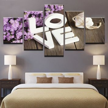 Purple Hyacinth Flower LOVE wall art on canvas framed unframed bedroom print