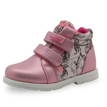 Apakowa 2017 Spring Autumn Children Boots Girls Shoes Kids PU Patchwork Slip-resistant
