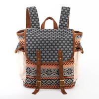 Easy-going Scout Backpack/ Black and Whithe Handspun Cotton,Hill Tribe Woven Stripes Fabric/ Boho, Hippie, Gypsy, Cloth Bag, Carry on Bag