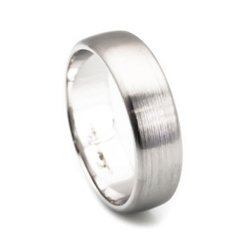 Men's 14k white gold curve edges ring 6mm