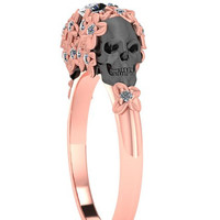Skull Engagement Ring Rose Gold Floral Diamond