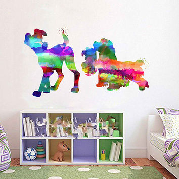 kcik2147 Full Color Wall decal Watercolor Character Disney Lady and the Tramp children's room Sticker Disney