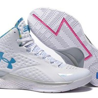 ONETOW VAWA Men's Under Armor Curry 1 Basketball Shoes White