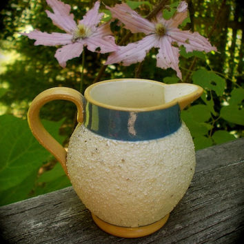 Antique 1800s English Yellow Ware Creamer - aka GravelWare or Sand Ware - Sweet Little Pitcher with Applied Handle