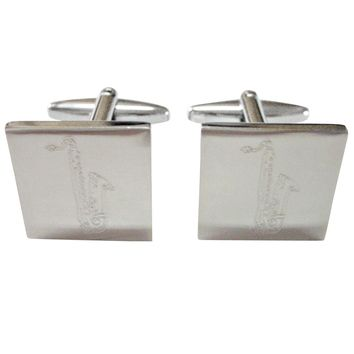 Silver Toned Etched Saxophone Music Instrument Cufflinks