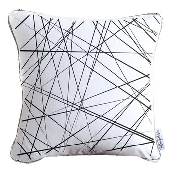 Chaotic Abstract Lines Decorative Throw Pillow w/ Silver & White Reversible Sequins - COVER ONLY (Inserts Sold Separately)