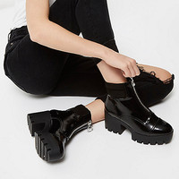 Black patent chunky platform boots - boots - shoes / boots - women