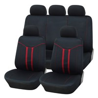Adeco 9-Piece Car Vehicle Protective Seat Covers, Universal Fit, Black/Red Contrast Detail