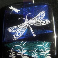 White Dragonflies on Blue Fused Glass Pendant | happyfishsmilingstar - Jewelry on ArtFire