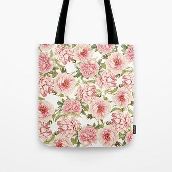 old fashioned peonies Tote Bag by Sylvia Cook Photography