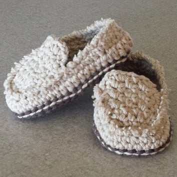 Crochet Baby Boy or Girl Casual Loafers /  Boat Shoes