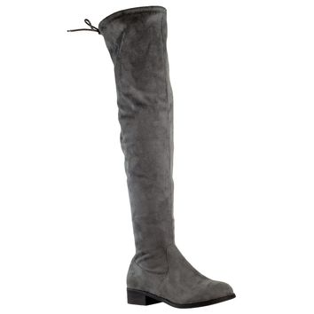 Womens Knee High Boots Lace Up Block Heel  Over the Knee Riding Boots Gray