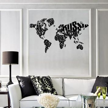 Wall Sticker World Map Made of Country Names Modern Cool Decor for Living Room Unique Gift (z1310)