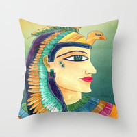 Egyptian Throw Pillow - Cleopatra, green, gold, jewel tones, home decor, cushion