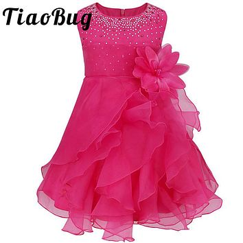 8 Colors Flower Girls Dress Ball Gown Prom Party Elegant Chiffon Floral Princess First Communion Dress Tulle Tutu Chiffon Dress