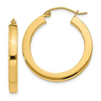 3mm, 14k Yellow Gold Square Tube Round Hoop Earrings, 25mm (1 Inch)
