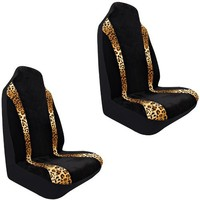 Tan Beige Leopard Animal Print Stripped Design Car Truck SUV Universal-Fit Seat Covers - PAIR