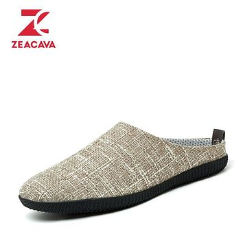 Z Brand 2017 New Fashion Slippers Men No-lace-up Hemp Tour Shoes Men Foot Shoes Soft Breathable Fligh Flat Slipper Shoes Men