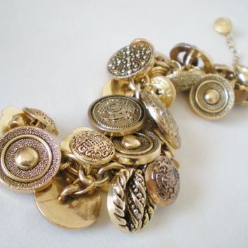 Golden Buttons Charm Bracelet Handmade by RetroRevivalBoutique