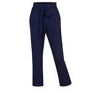 Casual High Waist Pin Stripe Straight Legs Pants with Removable Self Tie