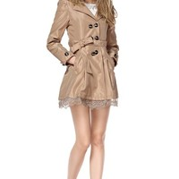TopStyliShop Women's Point Collar Coffee Coat with Lace Herm D1117