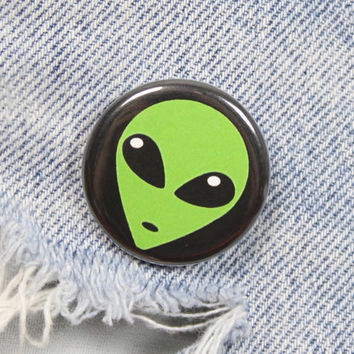 Green Alien Head 1.25 Inch Pin Back Button Badge