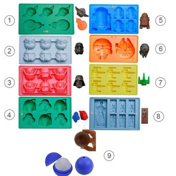 9pcs Star War Ice Cube Trays Silicone Ice Mold Death Star Candy Silicone Molds Darth Vader Yoda