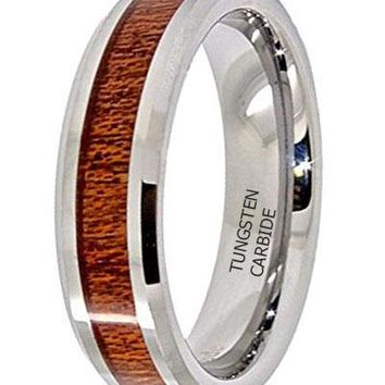 CERTIFIED 6mm Wood Grain Inlay Tungsten Carbide Wedding Band