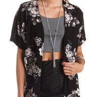 Knit Floral Print Kimono Cardigan by Charlotte Russe