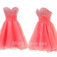 Beads Coral Sweetheart Strapless Empired Short Gown Cocktail Celebrity Dress,Tulle Formal Evening Party Events Prom Dress Homecoming Dress