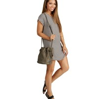 Taupe Vintage Boho Bucket Bag