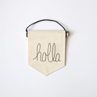 HOLLA Canvas Banner - Embroidered Banner - 4 x 5 inches Canvas Wall Hanging