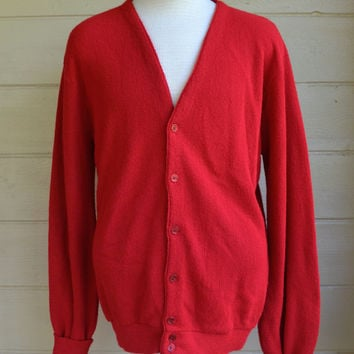 Vintage Men's Button Down Cardigan Sweater Grandpa Sweater by Winona Knits Red Cardigan Sweater