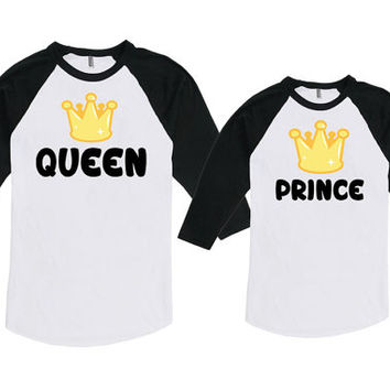 Mommy And Me Clothing Mother And Son Matching Outfit Mom And Baby Shirts Queen And Prince Bodysuit American Apparel Unisex Raglan MAT713-714