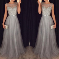 Sparkle Silver Gray Prom Dresses Tulle Long Top with Crystal Beadings Sheer Neck Celebrity Party Gowns for Graduation 2016