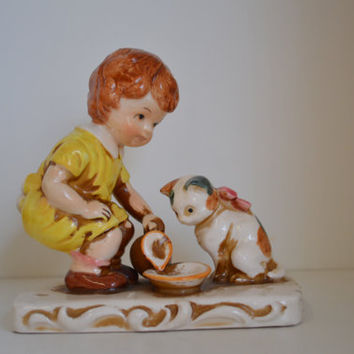 Enesco, Vintage, Figurine, Cat, Little boy.